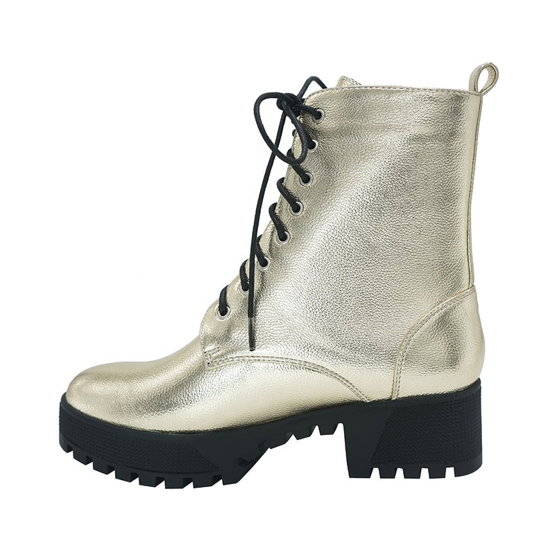 Metallic Lace Up Combat Boots