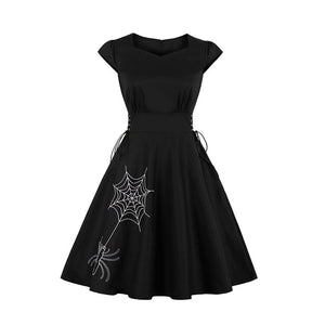 Spider on a web vintage style goth dress