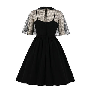 Spooky Vintage style cape dress in Spider detail or black