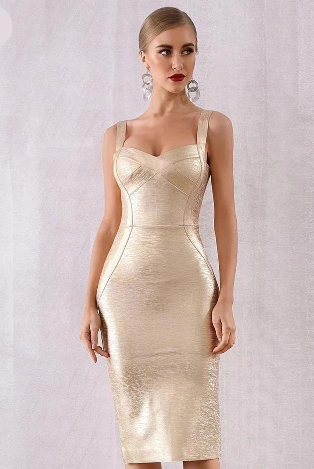 Freya Gold Lame Bandage Holiday NYE Party Dress
