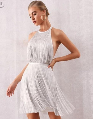 Sara White Mini Halter Fringe Bandage Dress