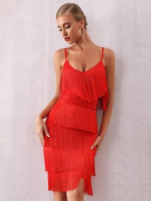 Marion Fringe Flapper bodycon bandage dress