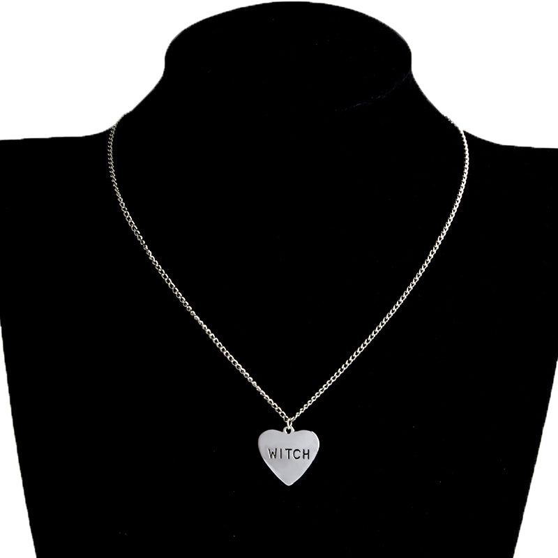 Heart Engraved Witch Necklace