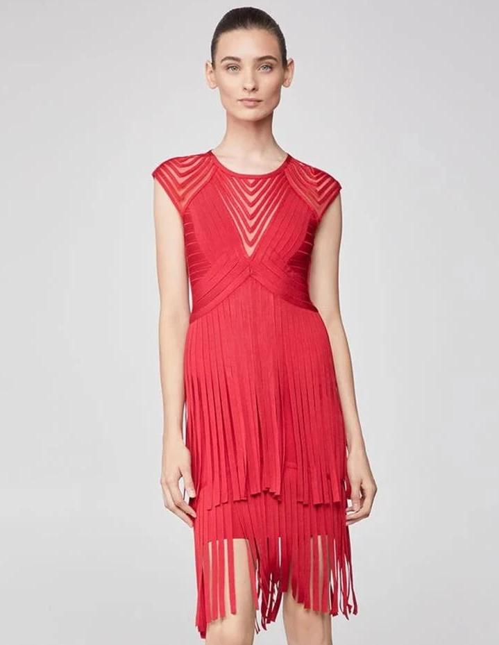 Fara Red Tassel Bandage Dress