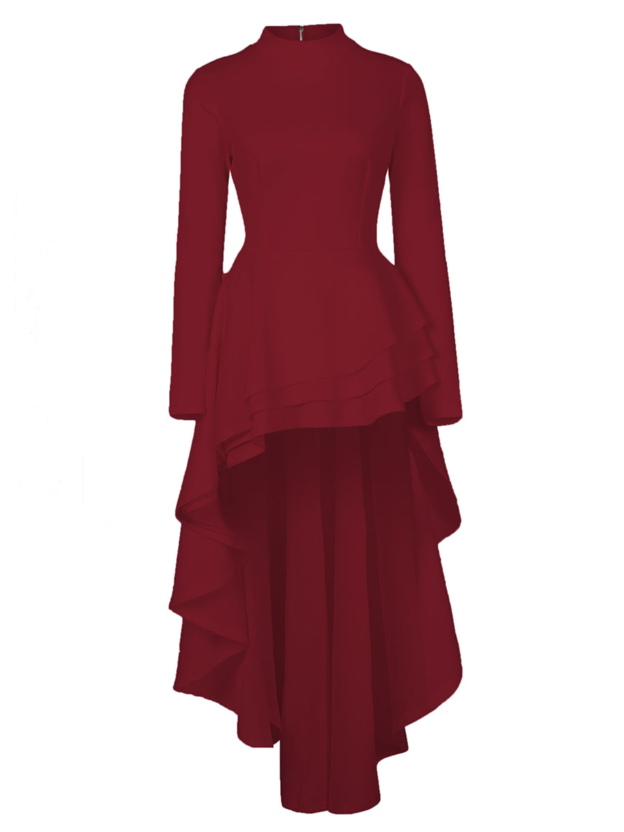 Mock neck High Low Ruffle Dress