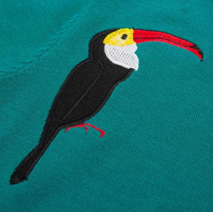 Toucan Embroidered Vintage Sweater