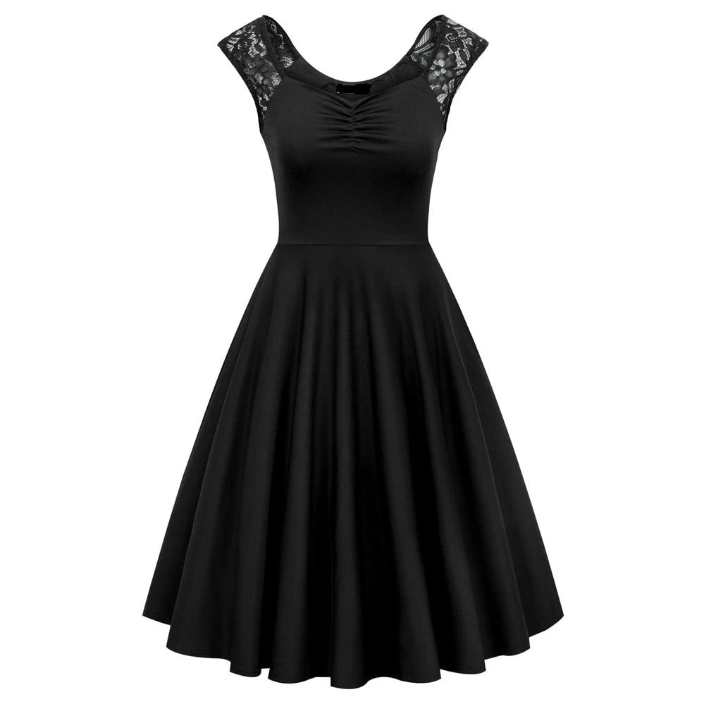 Coraline fit and flare little black dress