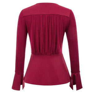 V neck wrap retro top with peplum