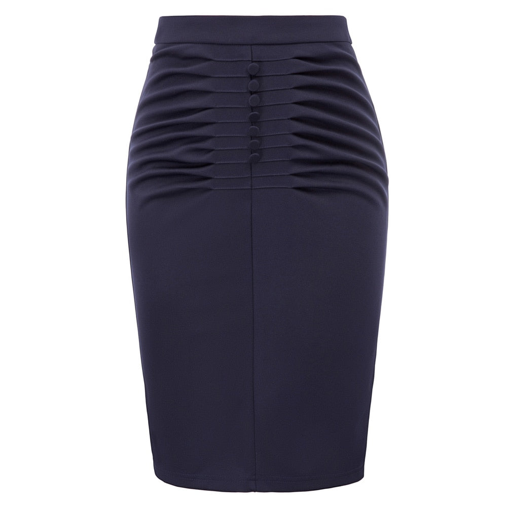Ruched retro pencil skirt