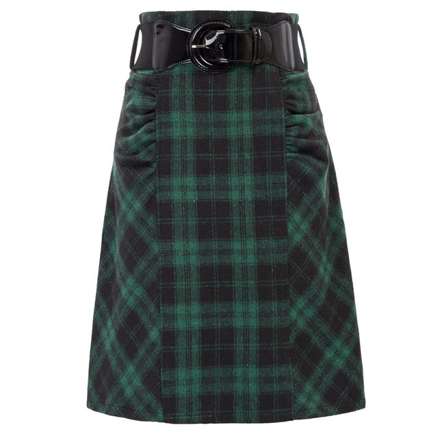 Jonie retro tartan skirt with belt
