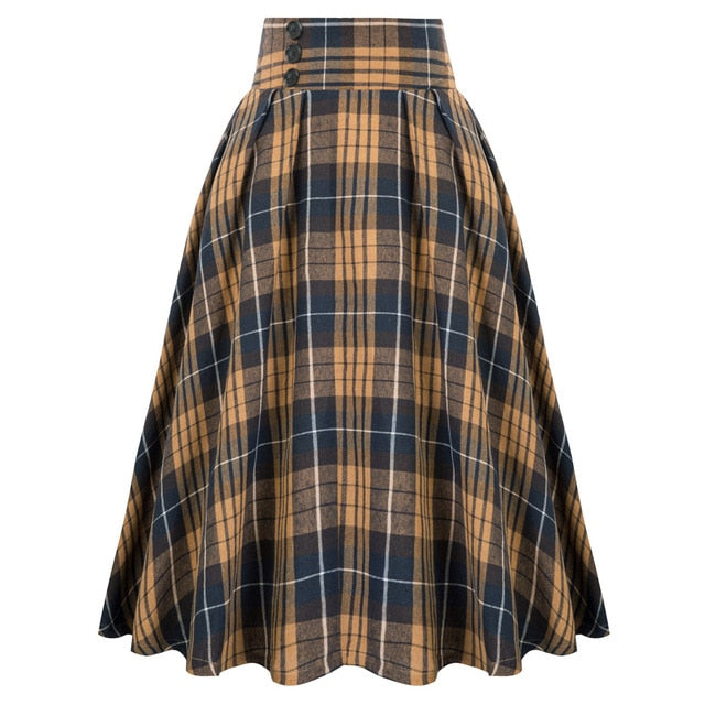 1950s style high waist full tartan skirt