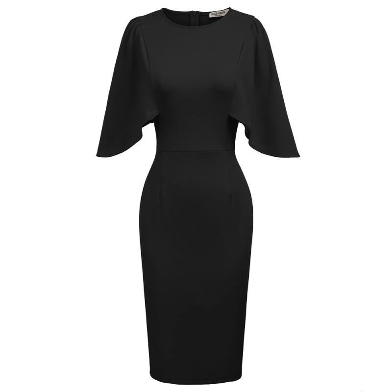 Batwing Sleeve Knit Pencil Dress