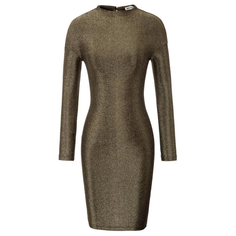 Metallic Mockneck long sleeve Bodycon Dress