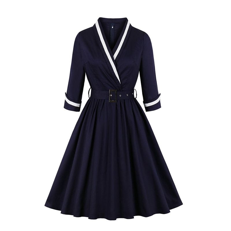 1940s Style Collared full skirt dress