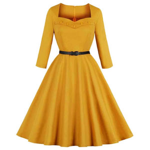 Amy Yellow long sleeve Vintage Style Dress