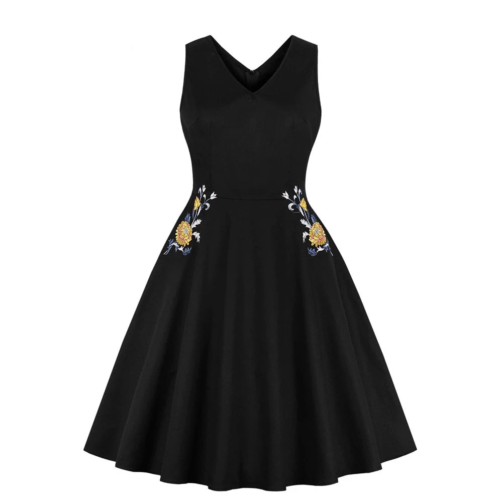 Cora V neck vintage style dress with floral embroidery