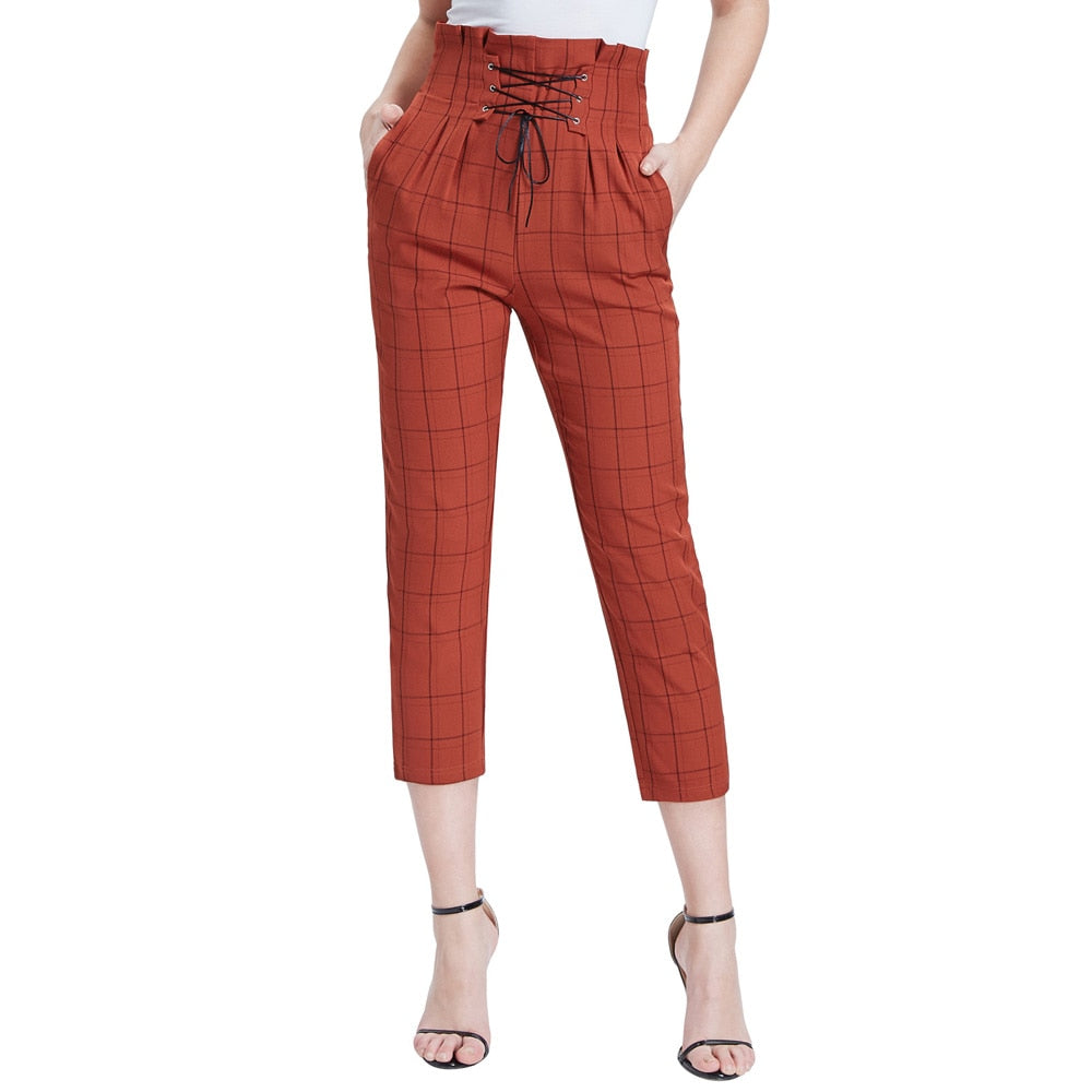 Charlotte Fall High Waisted Plaid Trousers