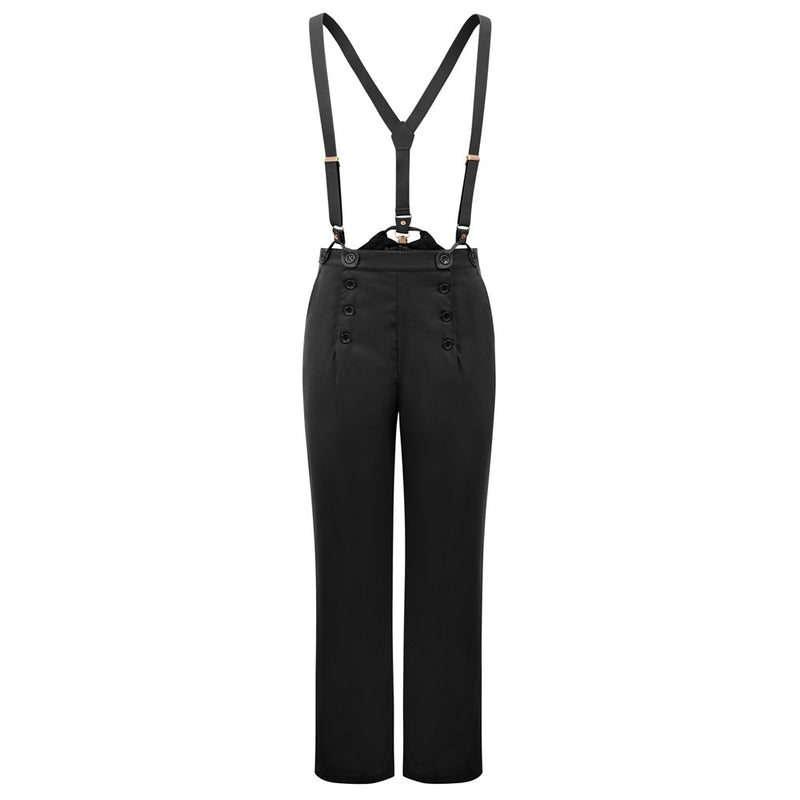 Frankie Womens Bib-and-Brace Vintage Style Trousers
