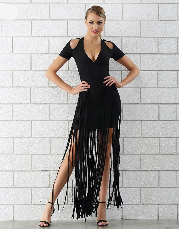 Angelina Fringe Black Bandage Bodycon Dresses