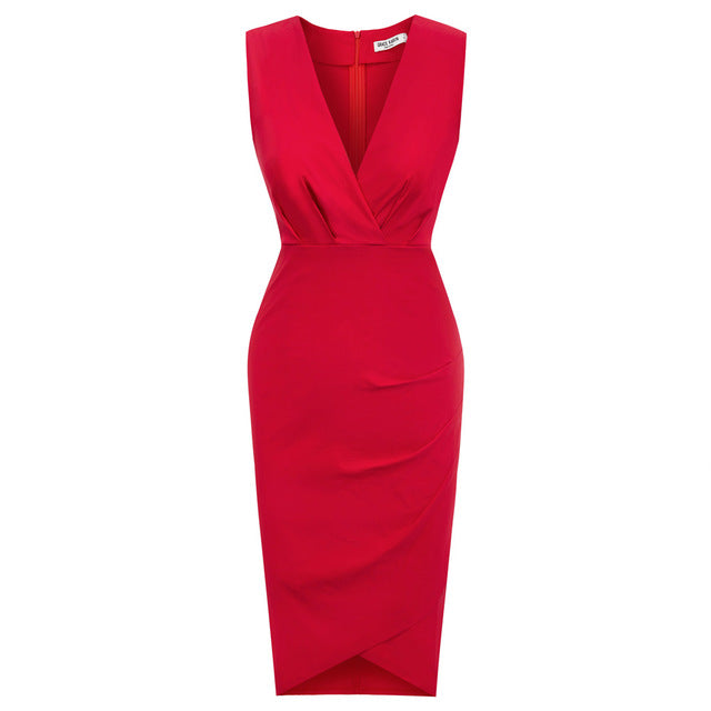 Joan Business Chic Wrap Pencil Dress