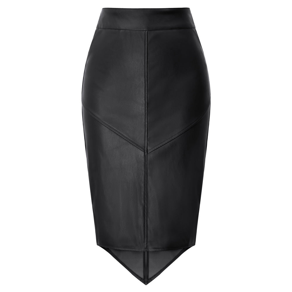 Lena Vegan Faux Leather Pencil Skirt with high-low Hem
