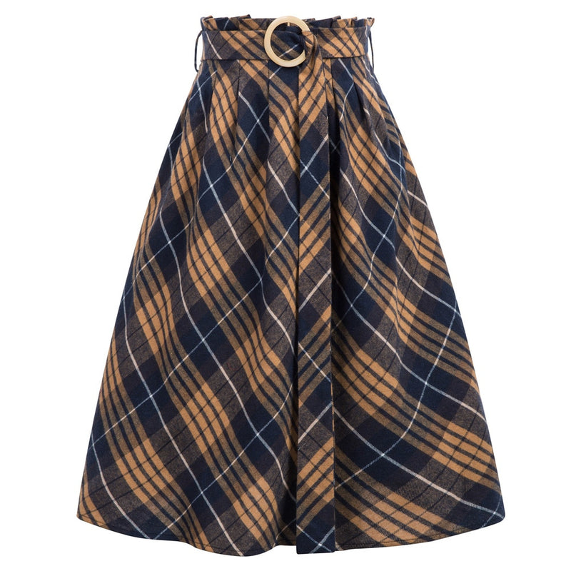 High Waist 50s Vintage Belted Plaid skirt