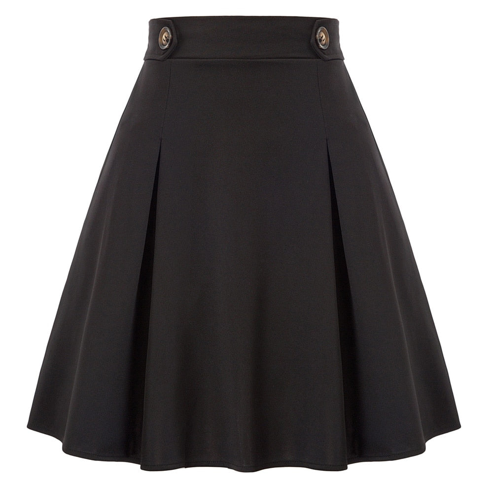 Bonnie High Waist Retro Pleated Flared skirt
