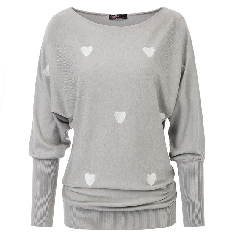 Sweet Heart Boat-Neck/ Off Shoulder Casual Sweater
