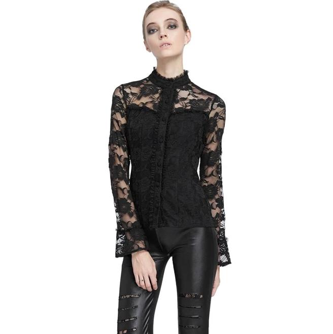 Corine Stand Collar Vintage Gothic Witchy Blouse