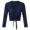 Diana Diamond Knit Cropped Shrug with 3/4 Sleeve  and Tie Front