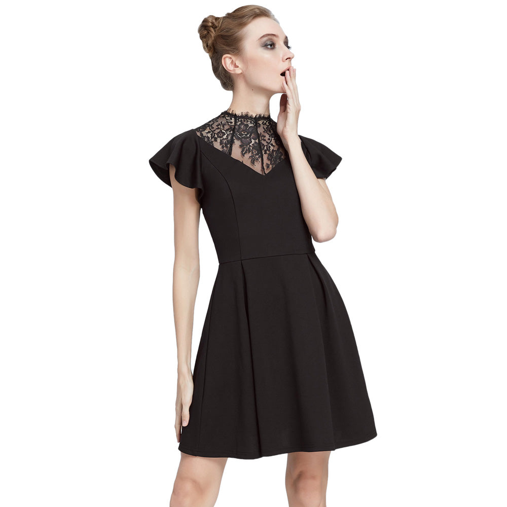 Odessa Gothic fit and flare lace neck dress
