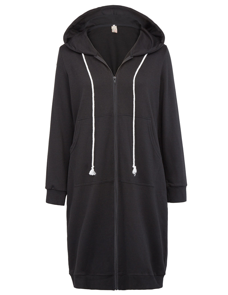 Billie Womens Oversized Long Zipper Hoodie