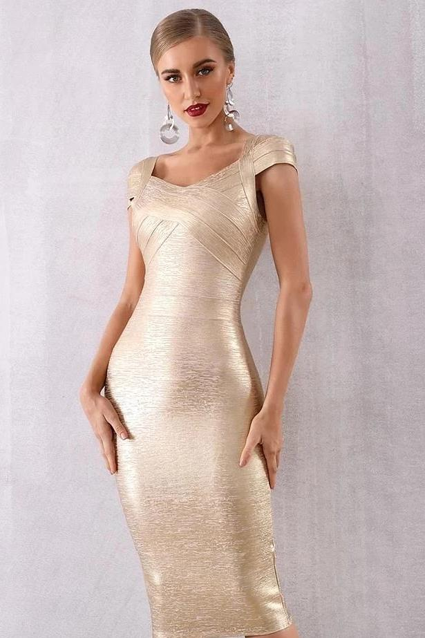 Maya Gold Lame Bandage Holiday NYE Party Dress