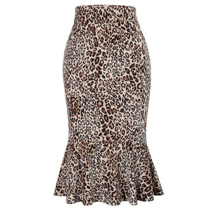Kiki Pencil Mermaid Hem Leopard Skirt