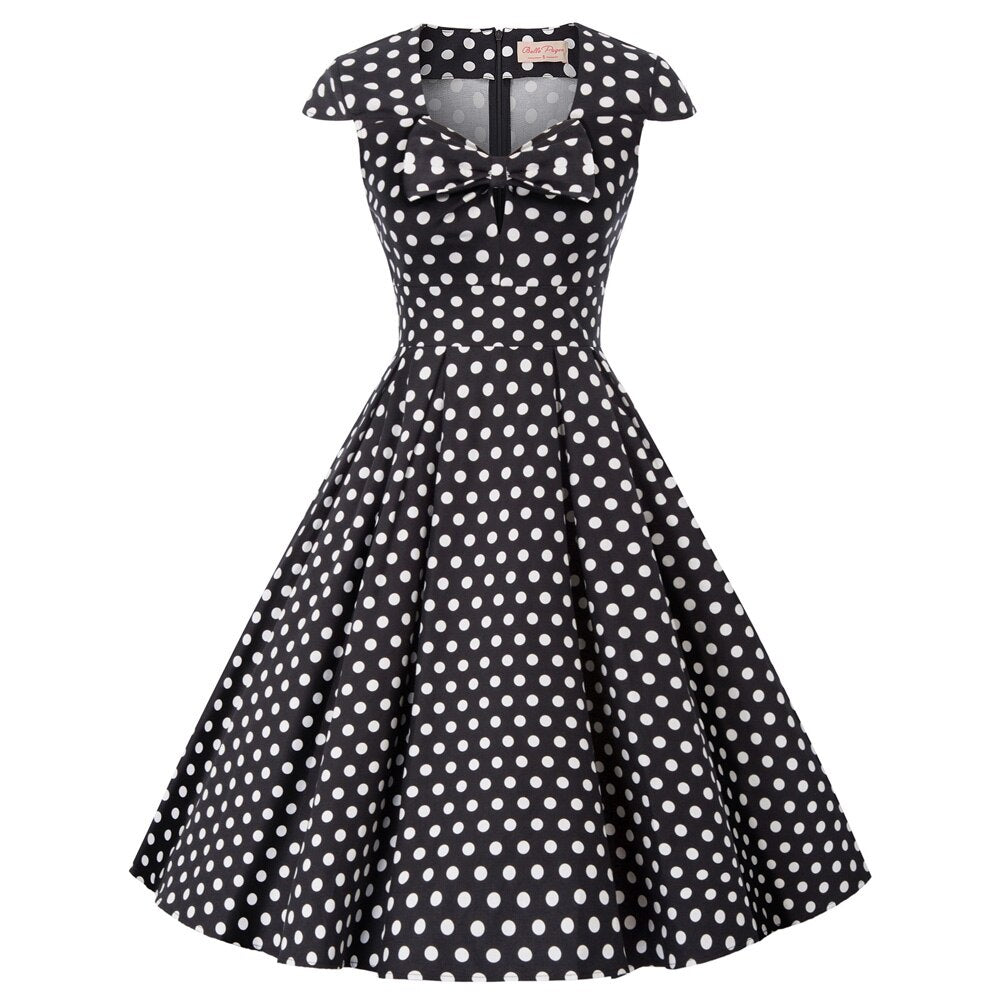 Judy 50s Style Fit and Flared Polka Dot Dress
