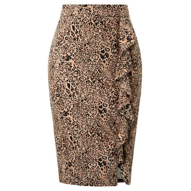 Pencil Cut Leopard Skirt Ruffle Front Slit