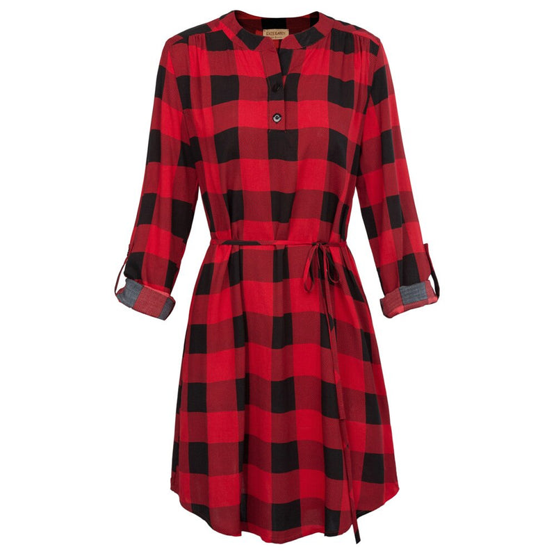 Palmer Comfy Roll-up Sleeve Cotton Plaid Shirt Dress