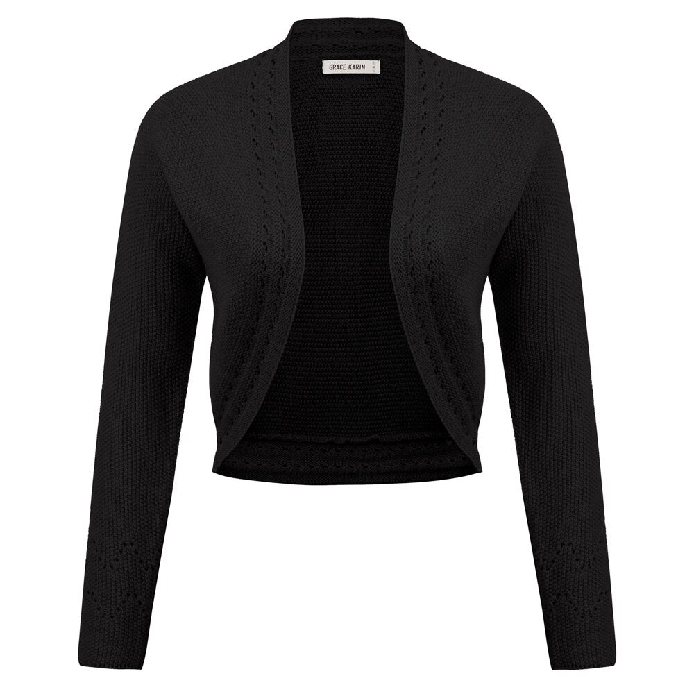 Jackie Retro Cropped Knitted Long Sleeve Bolero