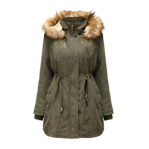 Alice Corduroy and Fleece Faux Fur trim Parka