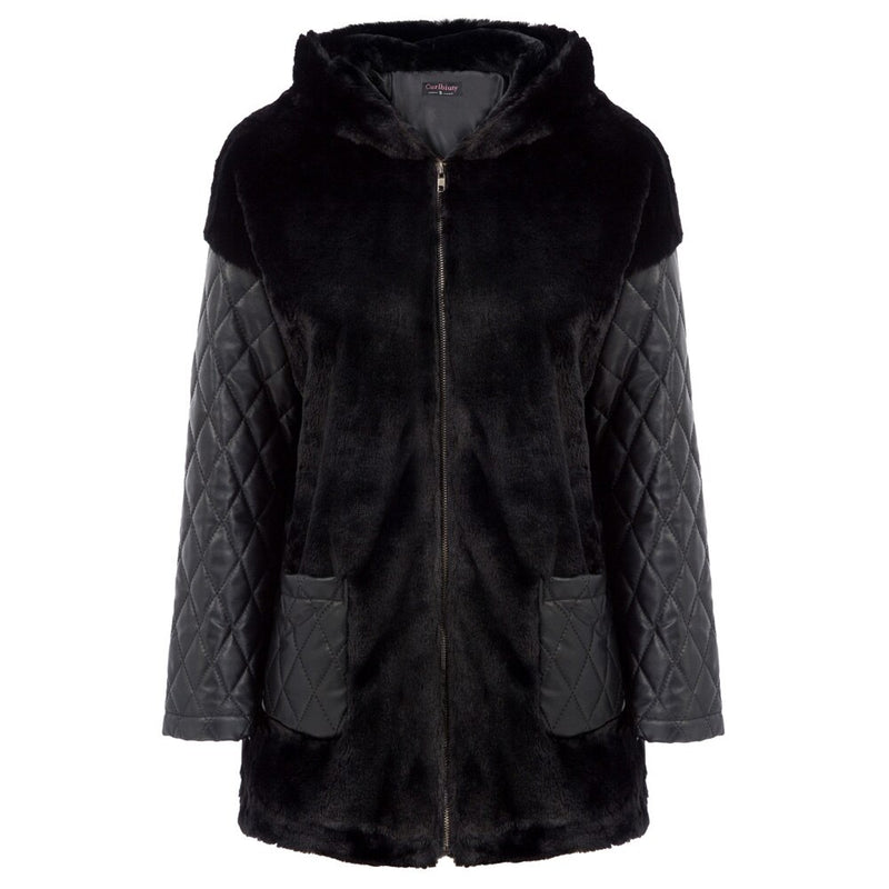 Bella Faux Fur and Quilted Oversized Hooded Coat
