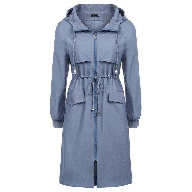 Aria Long Sleeve Hooded Fall Water-Repellent Rain Coat.