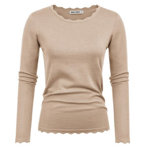 Isabella Pullover Scalloped Neckline and Hem Knit Sweater