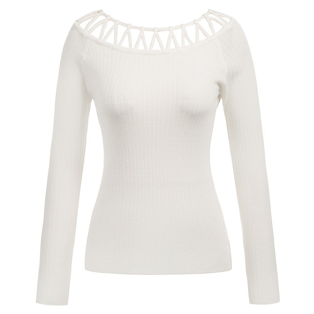 Olivia Decorated zig zag collar knit sweater