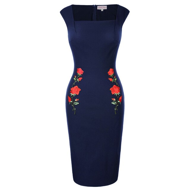 Ava Rose Embroidery Pencil Dress