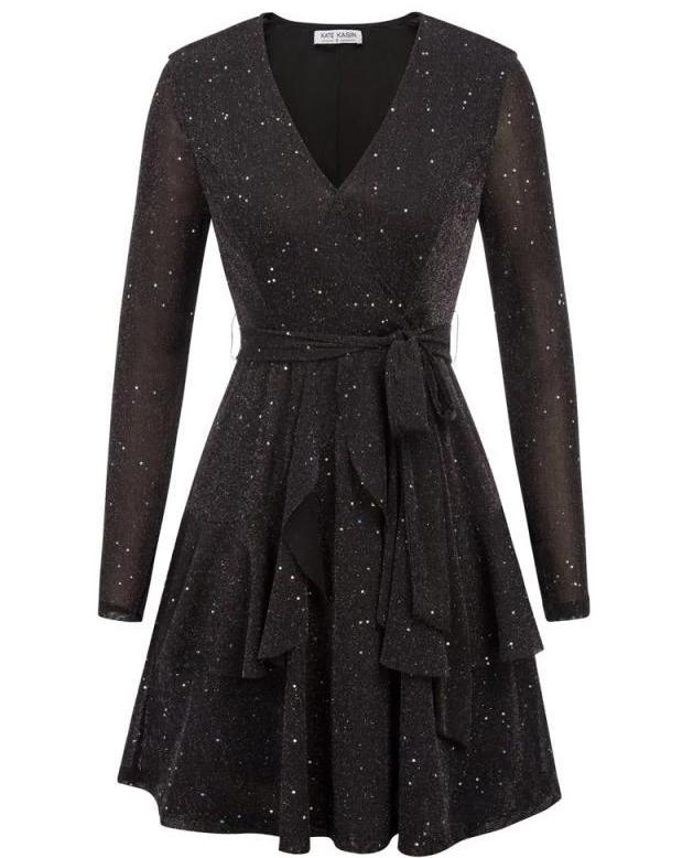 Salena Sparkling Stars A-Line Dress Ruffle Dress