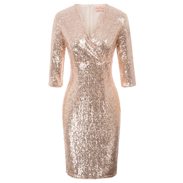 Geena Wrap Bust Half Sleeve Sequin Disco Party Dress