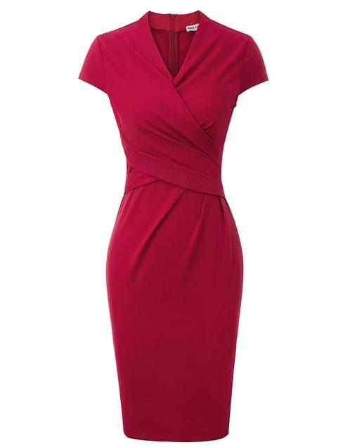 Haisley Wrap Bodice Vintage Style Pencil Dress