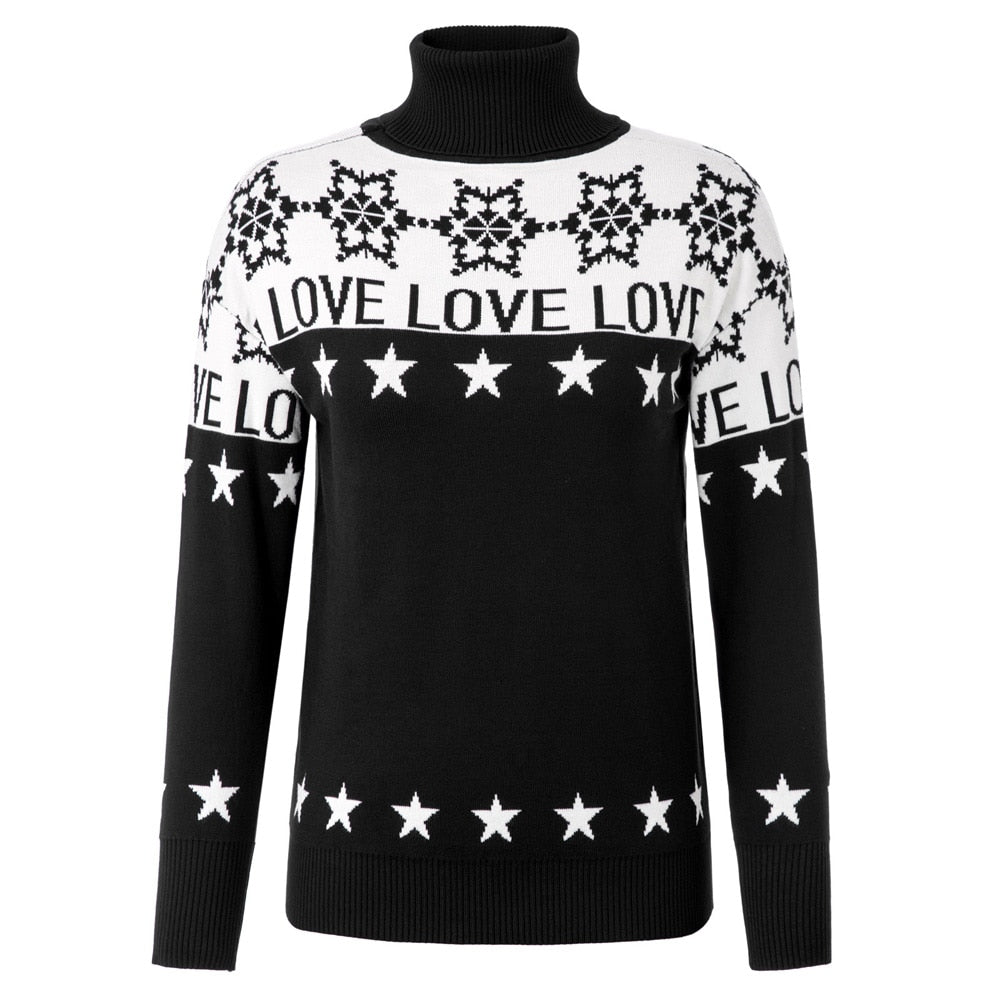 Winter Love Womens Turtleneck Knit Sweater