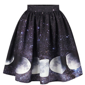 Gothic Moon And Star Mini Skater Skirt
