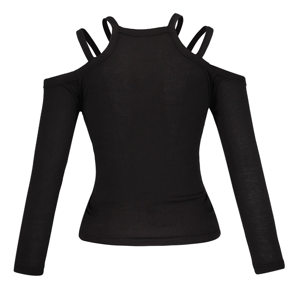 Gothic Black Hollow Long Sleeve Top